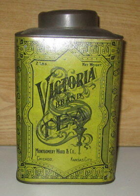 ANTIQUE LATE 1800's LARGE 2 LBS. ADVERTISING VICTORIA TEA TIN-MONTGOMERY WARD