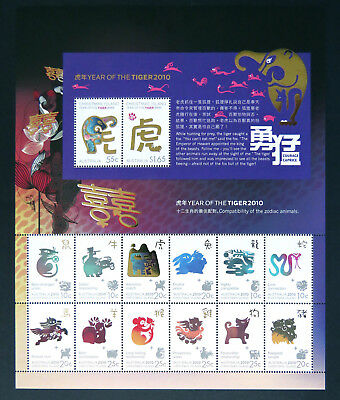 2010 Christmas Island Stamps - Lunar New Year - Year of the Tiger Sheetlet MNH