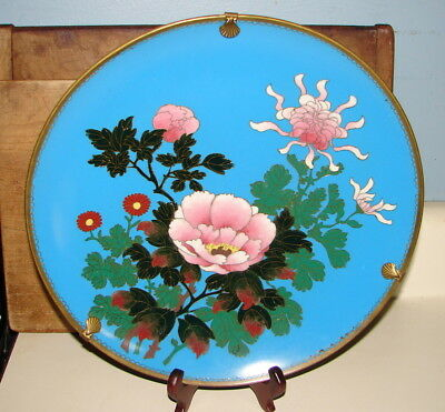 "Large 12"" Vintage Solid Brass Enameled Flowers/leafs Wall Plate With Hanger"