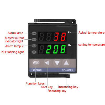 110V/220V REX-C100 Digital PID Temperature Controller RELAY & SSR Thermostat ES