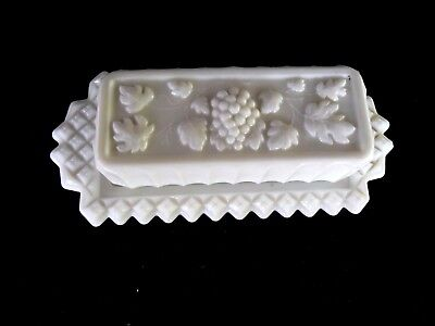 Vintage Grape Milk Glass Butter Dish With Cover