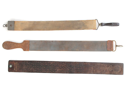 3 Vintage Leather Razor Strops Kraut & Dohnal  Illinois Razor Strop Co.