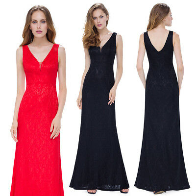UK Long Womens Lace V Neck Prom Bridesmaid Party Evening Formal Maxi Dress 08917
