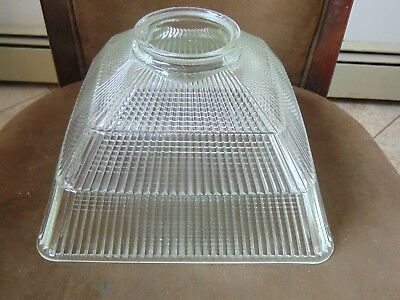 Antique Vintage Holophane Square Glass Shade Deco Heavy Large for Hanging Light