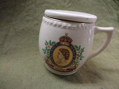 #cc11.  1953 Queen Elizabeth Ii Coronation Mug With Lid