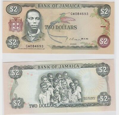 2 Dollar Banknote Bank of Jamaica 29.5.1992 (123364)