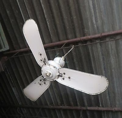 """Antique Ceiling Fan Marelli Italy Mark Eng.Electric Co 3 blade AC 36""""TypeA"""