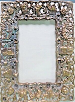 Solid Brass antique Picture Frame Cutting & Carving  Egyptian symbols & figures