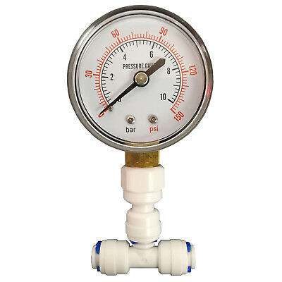 "Pressure Gauge for Reverse Osmosis Systems with 1/4"" connection by Finerfilters"