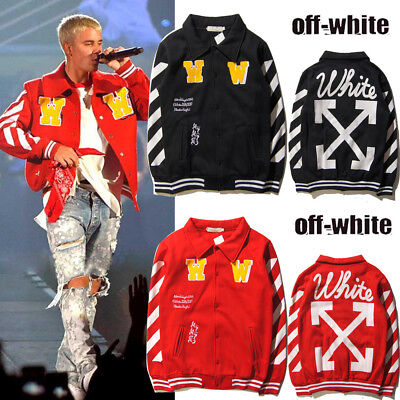 W Fashion Off white Mens Cotton Blend Stand Collar Baseball Coat Slim Fit Jacket
