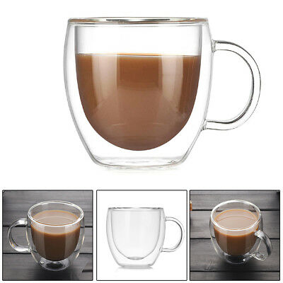 2 Layer Strong Clear Glass Double Wall Coffee Mug Tea Espresso Cup 200ml