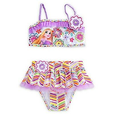 NWT Disney Store Rapunzel Deluxe Swimsuit for Girls - 2-Piece Size 5/6,7/8,9/10