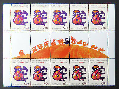 2013 Christmas Island Stamps - Year of the Snake Gutter 10 x 60c - Tabs MNH
