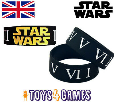 UK NEW Star Wars Logo and Roman Numerals Silicone Wrist Band Space Gift for Fans