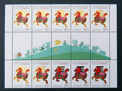2014 Christmas Island Stamps - Year of the Horse Gutter Sheet 10x60c-Tabs MNH
