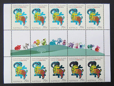2015 Christmas Island Stamps - Year of the Goat Gutter Block 10 x 70c-Tabs MNH