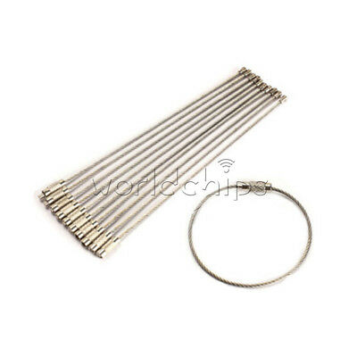 10PCS Stainless Steel Wire Keychain Cable Key Chain Ring Twist Screw Locking