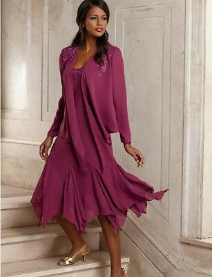TEA LENGTH MOTHER of the Bride Dress Plus Size with Jacket