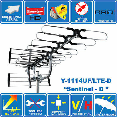 """Sentinel-D"" SUPER HIGH GAIN 4G/LTE READY DIGITAL HD TV OUTDOOR AERIAL FREEVIEW"