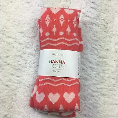 NWT Hanna Andersson Girls Footed Tights Playful Pink Fair Isle Snowflake 110/120