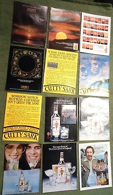 LOT of 12 magazine page ads 1970-80's beer liquor gin cutty JOHNNIE WALKER BOOZE