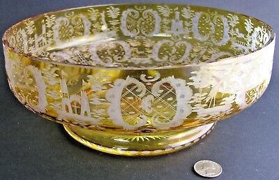"""Bohemian / Czech Amber Yellow Cut / Etched to Clear Glass 10"""" Bowl Scenic Panels"""