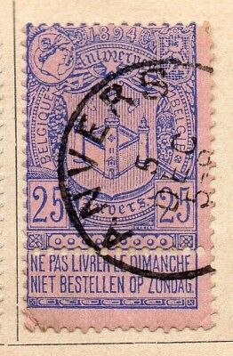 Belgium 1894 Early Issue Fine Used 25c. 213937