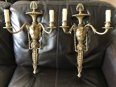 Antique Vintage French Bronze Ram Head Gold Wall Sconces 1 Pair