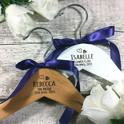 Personalised ENGRAVED Wedding Dress Hanger Wood / White Bridal Party Bride Gift