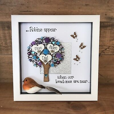 Personalised Robins appear when loved ones are near Box Frame Memory Bereavement