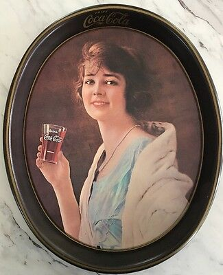 Vtg COCA-COLA Metal Tin Serving Tray Roaring 1920's Woman Flapper Collector Oval