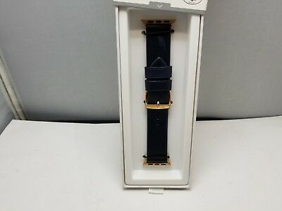 Nomad Leather Watch Strap for Apple Watch 38mm - Blue/Rose Gold Lugs Patina