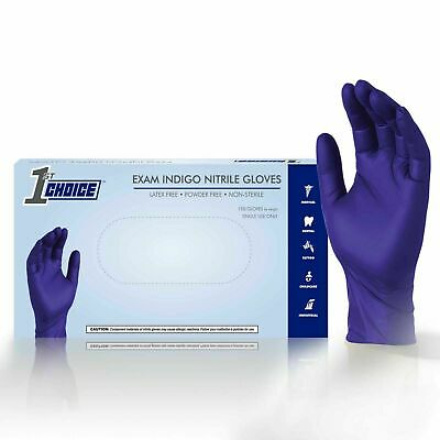 1st Choice Indigo Medical Nitrile Exam Latex Free Disposable Gloves - 1000/ct