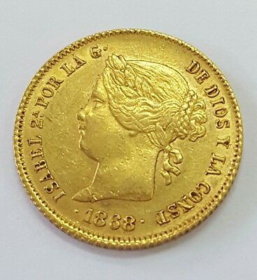 1868 Isabel Ii Spanish Phillipines 4 Peso Gold Coin