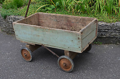 Vintage French Hand Cart Trolley Planter Antique Chic Green Rustic Garden