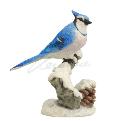 Blue Jay On Snowy Branch Sculpture Statue Figure - HOME DECOR