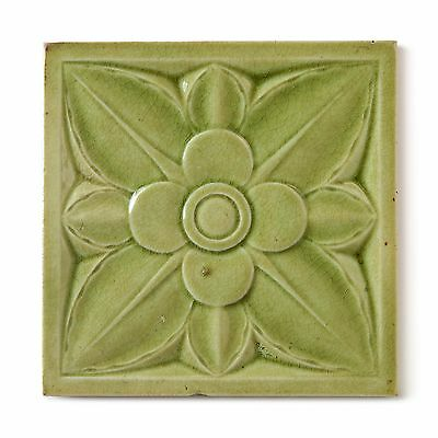 Antique Tile Victorian Aesthetic Gothic Floral Flower Emboss Majolica Pale Green