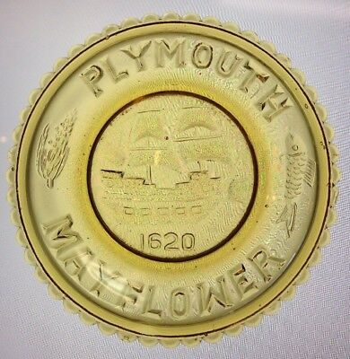 Plymouth Mayflower 1620 Mosser Glass Cup Plate #19 1973 Gold Cambridge Ohio Rare