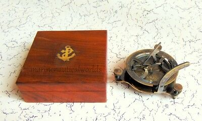 Large West London Antique Solid Brass Sundial Engraved Compass With Wooden Box