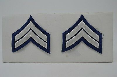 Pair CORPORAL CPL. Police Security Chevrons Stripes Patch Silver And Blue