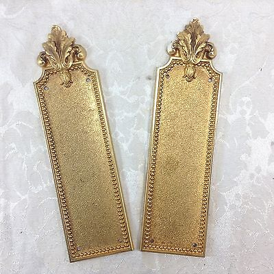 Maset French Style Ornamental Push Plates Ornamental Cabinet Hardware Brass