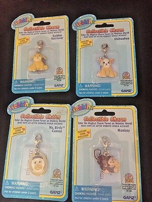 Lot of 4 Webkinz Charms ~ NEW ~ Monkey ~Ms Birdy ~ Chihuahua ~ Golden Retriever