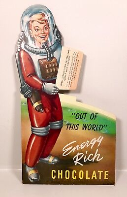 Vintage 1950s Outer Spaceman Chocolate Milk Die-Cut Advertising Sign Space Robot