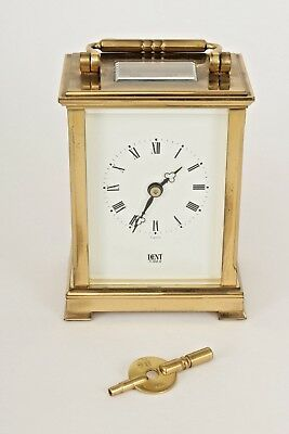 Working, Antique Brass Carriage Clock by Dent of London With Key