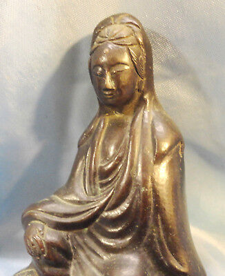 Old +150 Yrs  China  Kwan  Yin  Buddha  Goddess  Of  Mercy   Solid  Bronze  Hand
