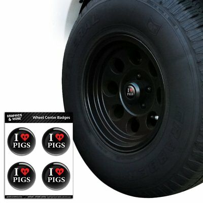 I Love Pigs Heart Snout Tire Wheel Center Cap Resin-Topped Badges Stickers