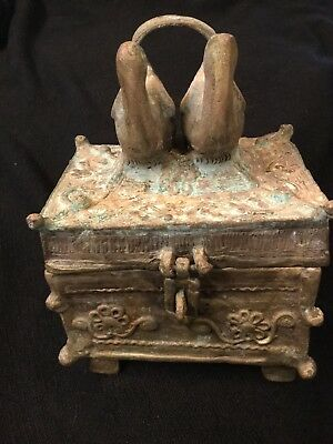 African Antique Akan Ashanti Ghana Cast Bronze Gold Dust Kuduo Box lost wax