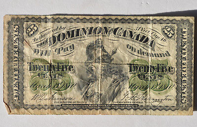 1870 25C Dominion Of Canada Twenty Five Cents Fractional Currency Shinplaster