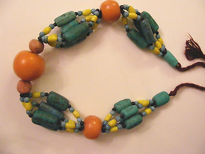 Estate Antique Chinese Tibet Hand Made Bead Necklace Huge Beeswax?? Amber??
