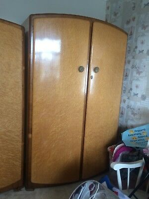 1950's Vintage 3 piece bedroom Suite Maple / Walnut Wardrobe's & Dressing Table